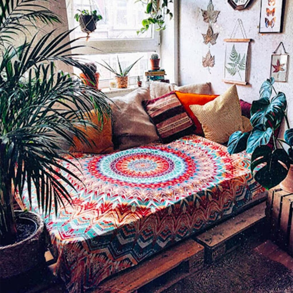 tapestry used as a bedspread