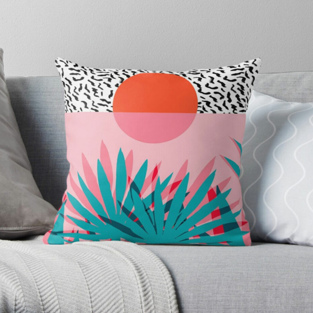 tapestry artwork on throw pillow