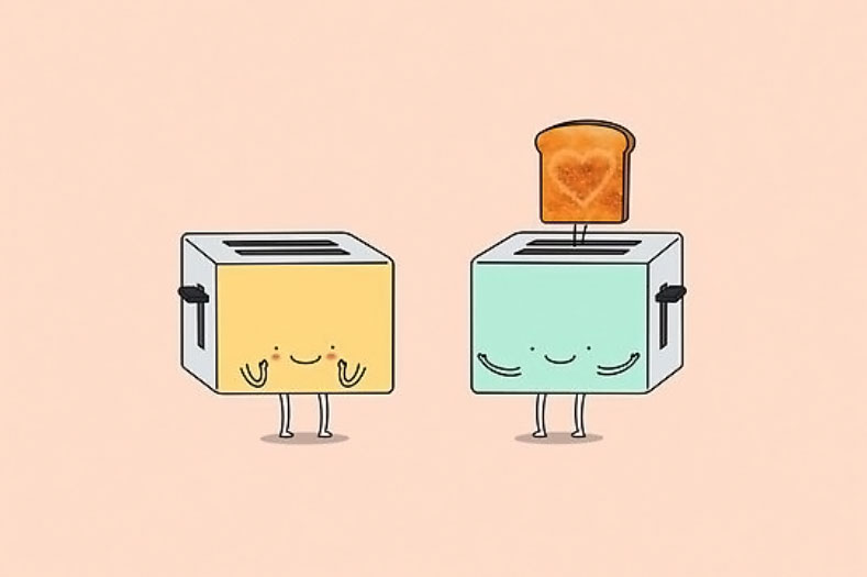 toasters with heart toast
