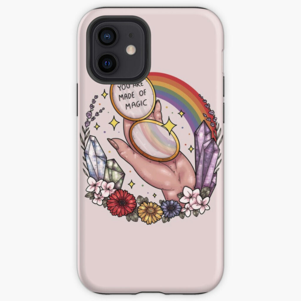 pink phone case with a hand surrounded by rainbows and flowers